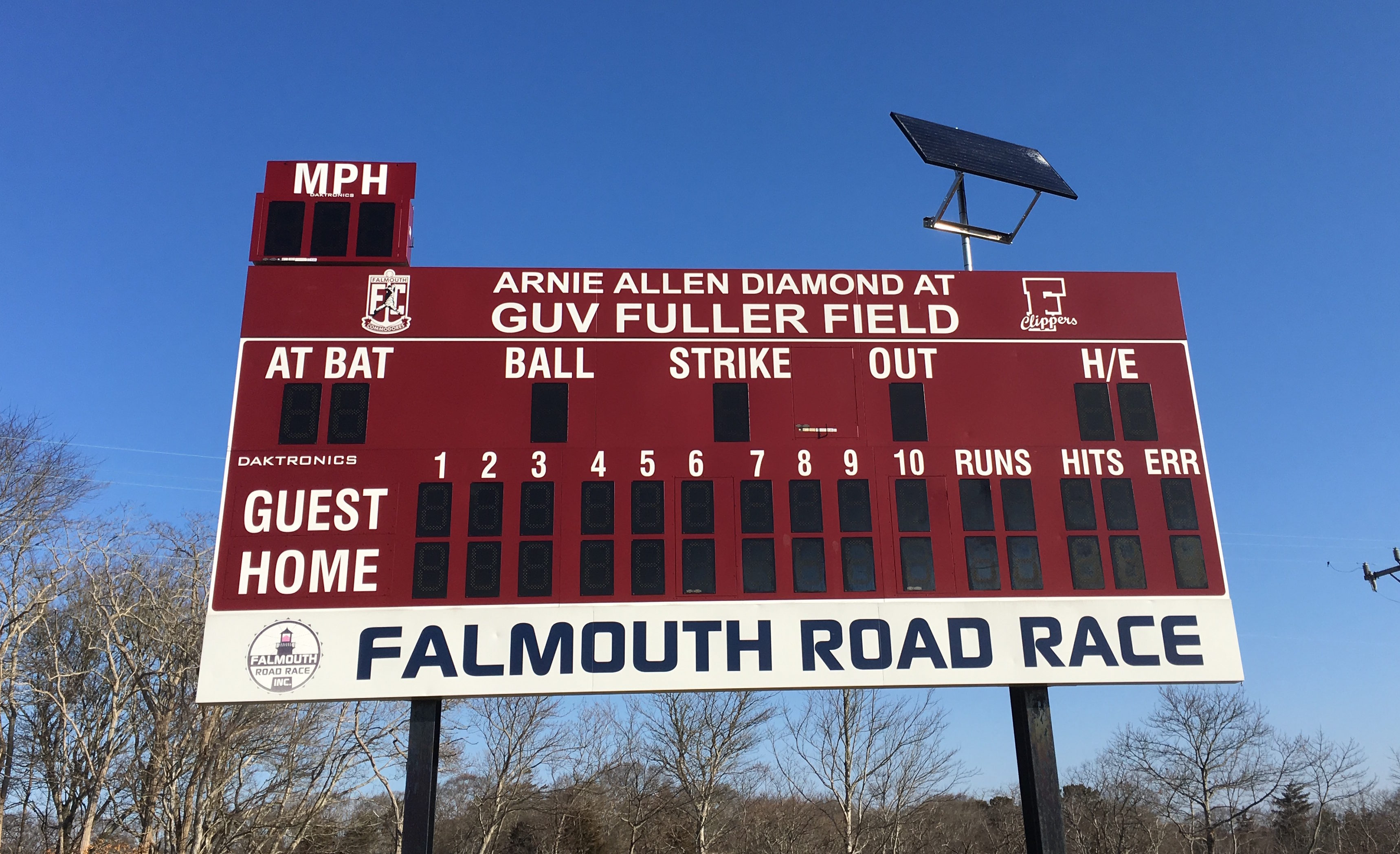 New 3-digit pitch speed panel installed! Thank you CCBL and Falmouth Road Race for your matching grants!